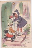 """Ce - Rare Cpa Illustrée Germaine Bouret """"allons Les Enfants, Ne Souhaitez Pas La Bonne Année Avant De Rentrer !"""" - Bouret, Germaine"""