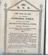 15 08 /   DP  °KEMZEKE 1766 + ST GILLIS WAES 1841   CATHARINA D'HILT - Religion & Esotérisme