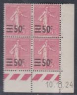 France N° 224 XX  Timbre Surchargé : 50 C. Sur 65 C. En Bloc De 4 Coin Daté Du  10 . 11 . 24  Sans Charnière, TB - ....-1929