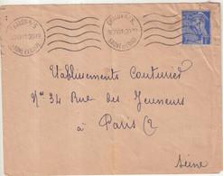 FRANCE : 1 Fr . TYPE MERCURE  .  ENTIER DECOUPE . UTILISE COMME TP . 1941 . OBL . - Altri