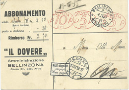 Switzerland Postcard Belinzona 1935 Via Mesocco,post Label Impaye / Non Pagato / Nicht Eingelost.Rinaldo Simen Advert. - Brieven En Documenten