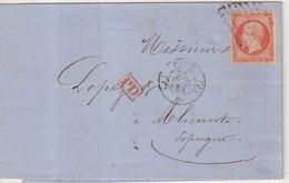 FRANCE : N° 16 . SEUL SUR LETTRE . POUR L'ESPAGNE . 1861 . - 1849-1876: Klassieke Periode