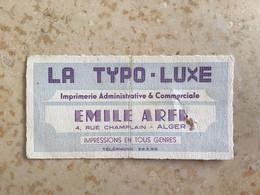 """Algérie : Carte De Visite Judaïca """" Émile Arfi  """" Alger - Visiting Cards"""