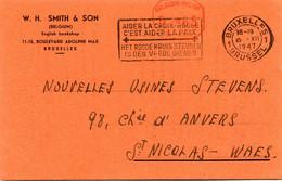 1947 Kaart Van W.H. SMITH & SON Bruxelles English Bookshop - Met Rode Frankeerstempel - Met Sloganstempel Rode Kruis - Lettres & Documents