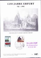 """Deutschland Germany Allemagne - Gedenkblatt """"1250 Jahre Erfurt""""  (MiNr: 1611) 1992  - Siehe Scan - Storia Postale"""