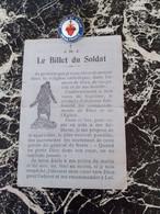 Billet Et Insigne Soldat Catholique Poilu Guerre 1914 1918 - 1914-18