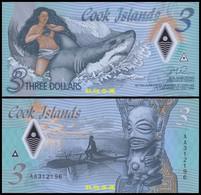 Cook Islands 3 Dollars, (2021), AA Prefix, Polymer, UNC - Cook Islands