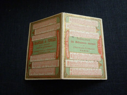 Petit Calendrier Ancien Publicitaire  1892  Pharmacie Française Granules De Fowler  Arsenic Et Vieilles Dentelles - Small : ...-1900