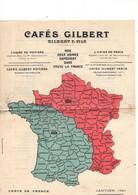Café GILBERT Janvier 1927, Carte De France Recto, Départements Pour Les 2 Usines, Annotations Verso, état Médiocre - Unclassified