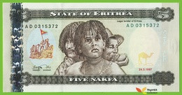 Voyo ERITREA 5 Nakfa 1997 P2 B102a AD UNC Jacaranda - Eritrea