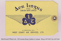 Ireland Airmail Aer Lingus TTA IRISH AIR LINES In Assoc WEST COAST AIR SERVICES Early Baggage Tag - Airmail