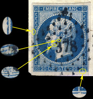 France - Yv.14A 20c Empire T.1 Position 120D4 - Obl. Pc 378 (BESANÇON) - TB - 1853-1860 Napoléon III
