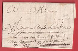 LETTRE DE PARIS DE 1736 POUR GRENOBLE REEXPEDIEE A GAP ISERE HAUTES ALPES - 1701-1800: Voorlopers XVIII