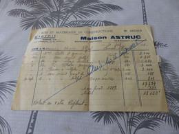 43 - Facture, Maison Astruc, Bois Et Matériaux De Constructions, Clermont-L'Hérault , 1956 - Artigianato
