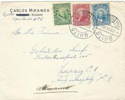 Ecuador Quito Cover CARLOS MIRANDA 1923 Letter Via Germany Leipzig - Ecuador