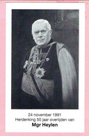 Bidprentje - 24 November 1991 - Herdenking 50 Jaar Overlijden Van Mgr Heylen - Kasterlee 1856 - Namen 1941 - Imágenes Religiosas