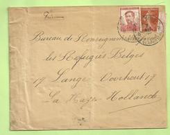 """MIXTE Frankeering Belgisch/Franse Zegels Op Brief Stempel PMB 7/8/15 Naar """"Refugies Belges- La Haye (Hollande) (B9371) - Esercito Belga"""