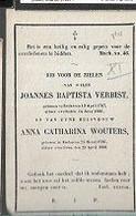 15 08 X5// : °  EECKEREN 1767 + 1835  JOANNES VERBIST EN ANNA WOUTERS + 1866 - Religion & Esotericism