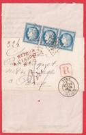 N°60 BANDE DE 3 GC 4291 VIRE CALVADOS 1876 POUR PARIS RETOUR ENVOYEUR RAYON CENTRAL DEVANT DE LETTRE - 1849-1876: Classic Period