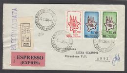 LETTRE RECOMMANDÉE  PAR EXPRESS DE ROME POUR ASTI,AVEC SERIE YV. 909/911. - 1961-70: Marcophilie