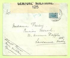 141 Op Brief Stempel PMB 4 Op 27/3/17 Naar Lausanne (Suisse), CENSURE MILITAIRE 125 (B9488) - Esercito Belga