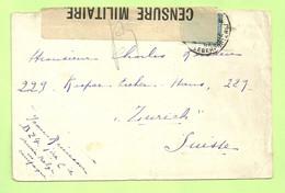 141 Op Brief Stempel PMB 4 Naar Zurich (Suisse), CENSURE MILITAIRE 126 (B9489) - Esercito Belga