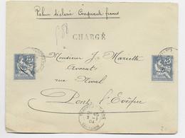 FRANCE MOUCHON 25C RETOUCHEX2 LETTRE CHARGE TROUVILLE S MER 9.1.1904 CALVADOS - 1900-02 Mouchon
