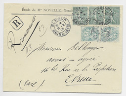 FRANCE SEMEUSE LIGNEE 15CX3+ N°1111X2 LETTRE REC ELBEUF 24.6.1905 SEINE INFRE - 1903-60 Semeuse A Righe