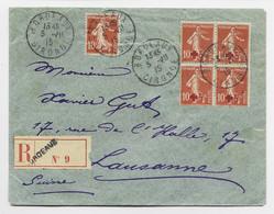 FRANCE SEMEUSE CROIX ROUGE N°146 BLOC DE 4+ N°138 LETTRE COVER REC BORDEAUX 5.VII.1915 POUR SUISSE AU TARIF PEU COMMUN - 1906-38 Sower - Cameo