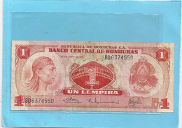 BANCO CENTRAL DE HONDURAS . 1 LEMPIRA . 30-6-1978 - N° BD 6374550 - Honduras