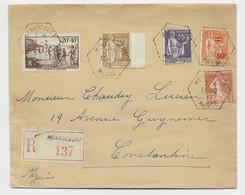 FRANCE N°235+359+363+364+ 346 LETTRE REC C. HEX PERLE MENAUCOURT  12.2.38 MEUSE POUR ALGERIE - 1921-1960: Modern Period