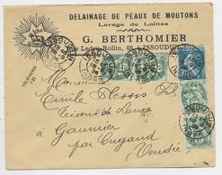 FRANCE N°192+ 111X4 LETTRE ENTETE DELAINAGE DE PEAUX DE MOUTONS ISSOUDUN 18.9.1926 - 1921-1960: Modern Tijdperk