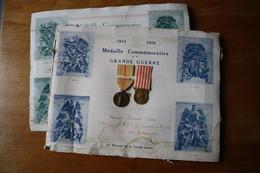 2 Diplômes  De Poilus Avec Médailles  Guerre 1914 1918 - 1914-18