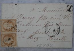Z19  FRANCE BELLE LETTRE 1865 POUR  METZ  MOSELLE   + PAIRE DE  NAPOLEONS    + AFFRANCH. INTERESSANT - 1853-1860 Napoléon III.