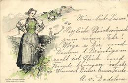Carte Precurseur 1898 Illustrateur Gardienne De Chèvres En Alsace RV Cachet Gebweiler - Guebwiller