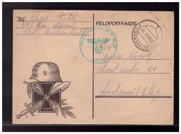 Dt- Reich (008501) Propaganda Feldpostkarte Mit Stahlhelm Und Eisernem Kreuz Gelaufen Bad Reichenhall 1943 Mit Feldpost - Briefe U. Dokumente