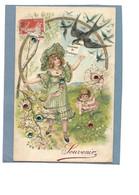 Carte Fantaisie Gaufrée Souvenir De Printemps - Petite Fille, Hirondelle, Paillettes - Other