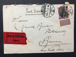 GERMANY Germania Cover 1917 Hamburg To Bremen Express - `Durch Eilboten Expres` - 40pf Rate - Lettres & Documents