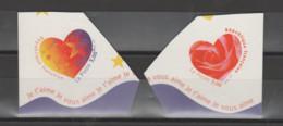 """FRANCE / 1999 / Y&T N° 3220/3221 ** Ou AA 27/28 ** : Les 2 TP """"Cœurs Aurélie Baras"""" De Carnet X 1 Paire Tous CdC - Adhesive Stamps"""