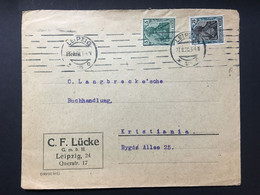GERMANY Germania Cover 1920 Leipzig To Kristiania (Oslo) Norway - 80pf Rate - `C.F. Lucke` - Lettres & Documents