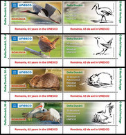 2021, Romania, Danube Delta , Beavers, Birds, Pelicans, UNESCO, Stork, 4 Stamps+Label, MNH(**), LPMP 2332 - Nuevos