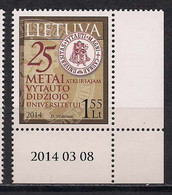 Lithuania 2014 25th Anniversary Of Restoration Of Vytautas Magnus University. Mi 1154 - Lituania