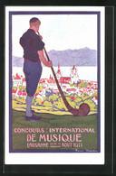 Künstler-AK Lausanne, Concourse International De Musique 1911, Alphornbläser - Unclassified