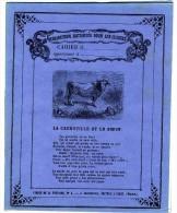 CAHIER D ECOLIER ANCIEN  LA GRENOUILLE ET LE BOEUF   FABLE DE LA FONTAINE  - TRES BELLE ILLUSTRATION  XIX° - Animals