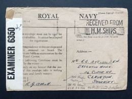 GB - WW2 Royal Navy Cover With Cesnor Tape `Received From H.M. Ships` Pm To Somerset - Lettres & Documents