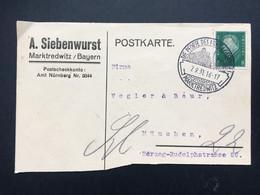 GERMANY 1931 Postkarte - Marktredwitz Handstamp Sonderstempel - `A. Siebenwurst` - Briefe U. Dokumente