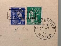Numéro 367 Et 407 Surcharge Dunkerque Sur Devant Oblitéré 20/7/40 Signé A. BRUN - Oorlogen