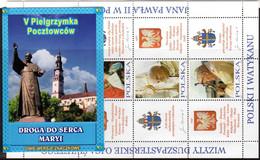 POLAND, POCZTA POLSKA 5 STAMPS BOOKLET - 2004 HEART OF MARY POSTMAN - POPE JOHN PAUL II MINT NOT HINGED SOUVENIR R - Papes