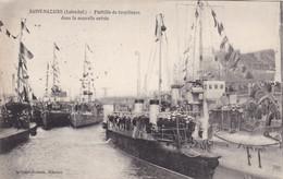 44. SAINT NAZAIRE . CPA. FLOTILLE DE TORPILLEURS DANS LA NOUVELLE ENTREE. MARINS A BORD. ANNEE 1934 + TEXTE - Warships