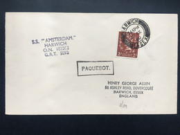 GB 1960 Paquebot Cover Harwich - `SS Amsterdam` - Lettres & Documents